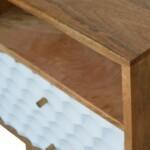 Honeycomb Carved Bedside with 2 Drawers and Open Slot 4
