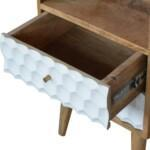 Honeycomb Carved Bedside with 2 Drawers and Open Slot 6