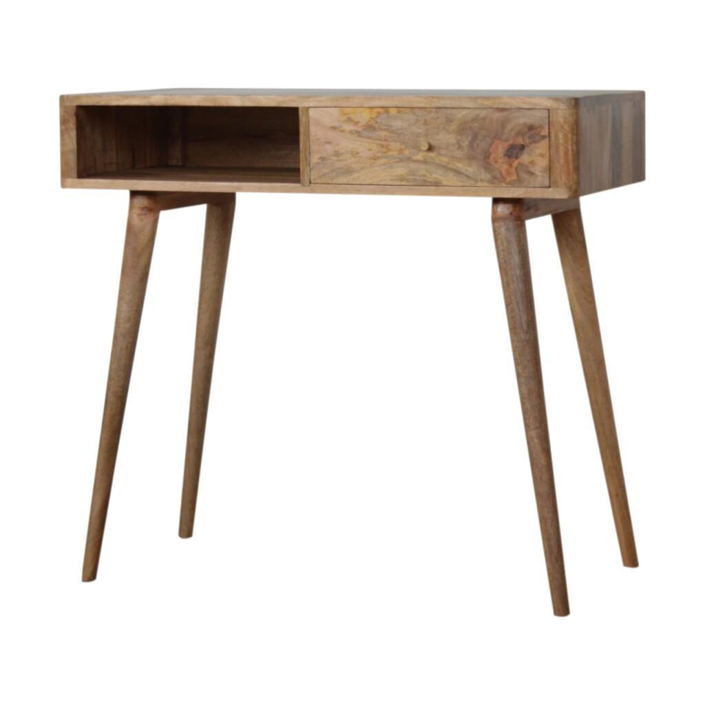 Leaf Embossed Resin Solid Wood Writing Desk