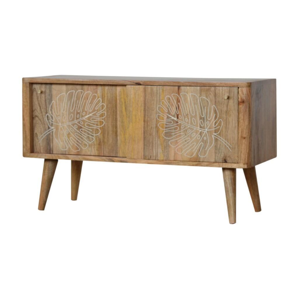 Leaf Embossed Resin Solid Wood Cabinet