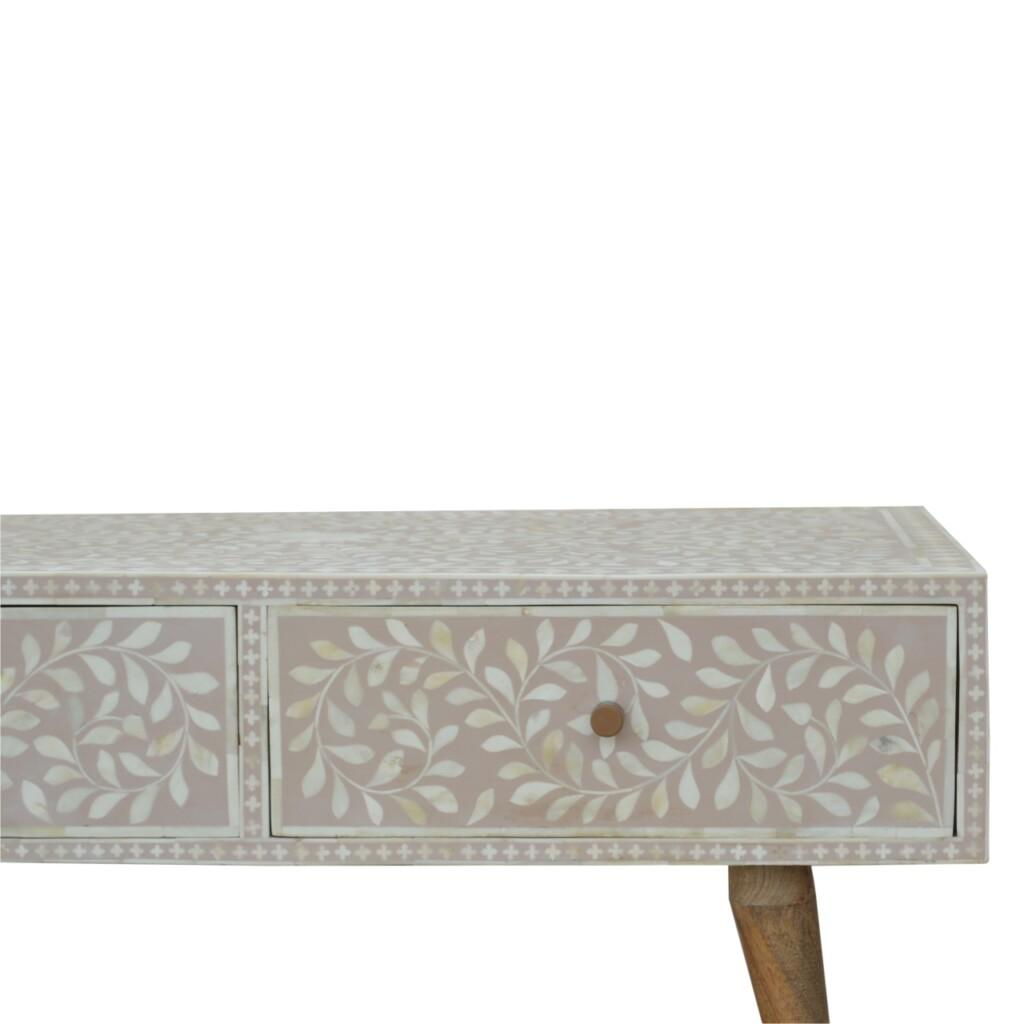 Light Taupe Floral Bone Inlay Coffee Table