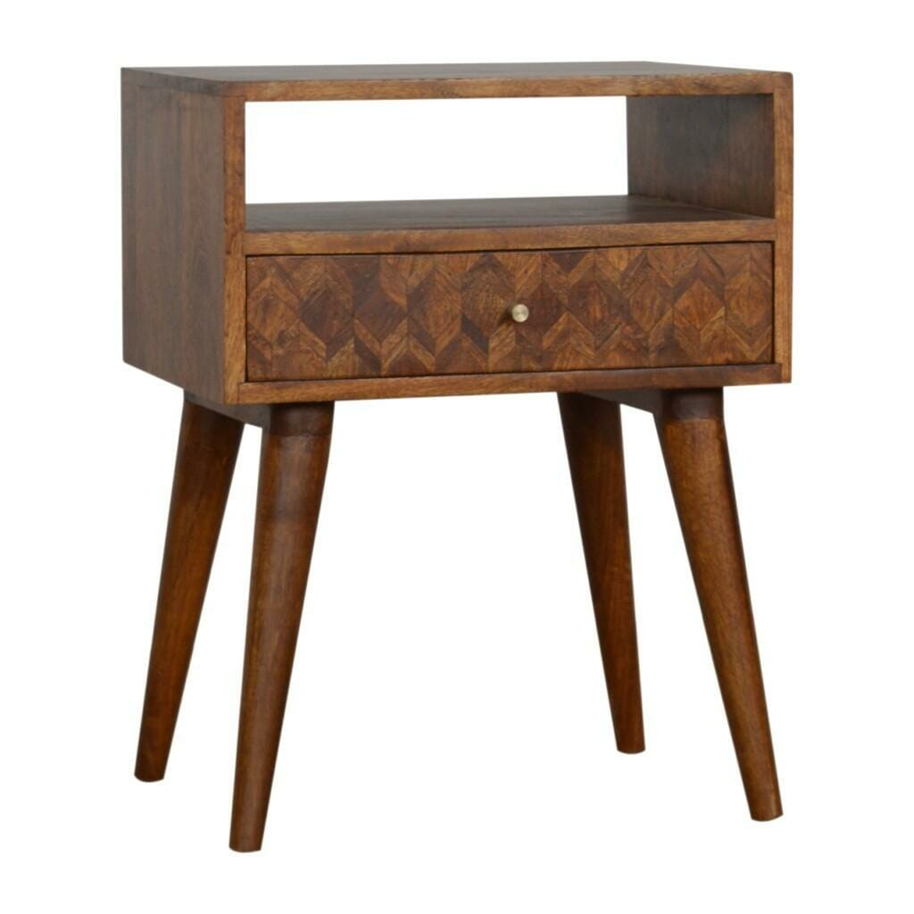 Assorted Chestnut Bedside with Open Slot Solid Mango Wood