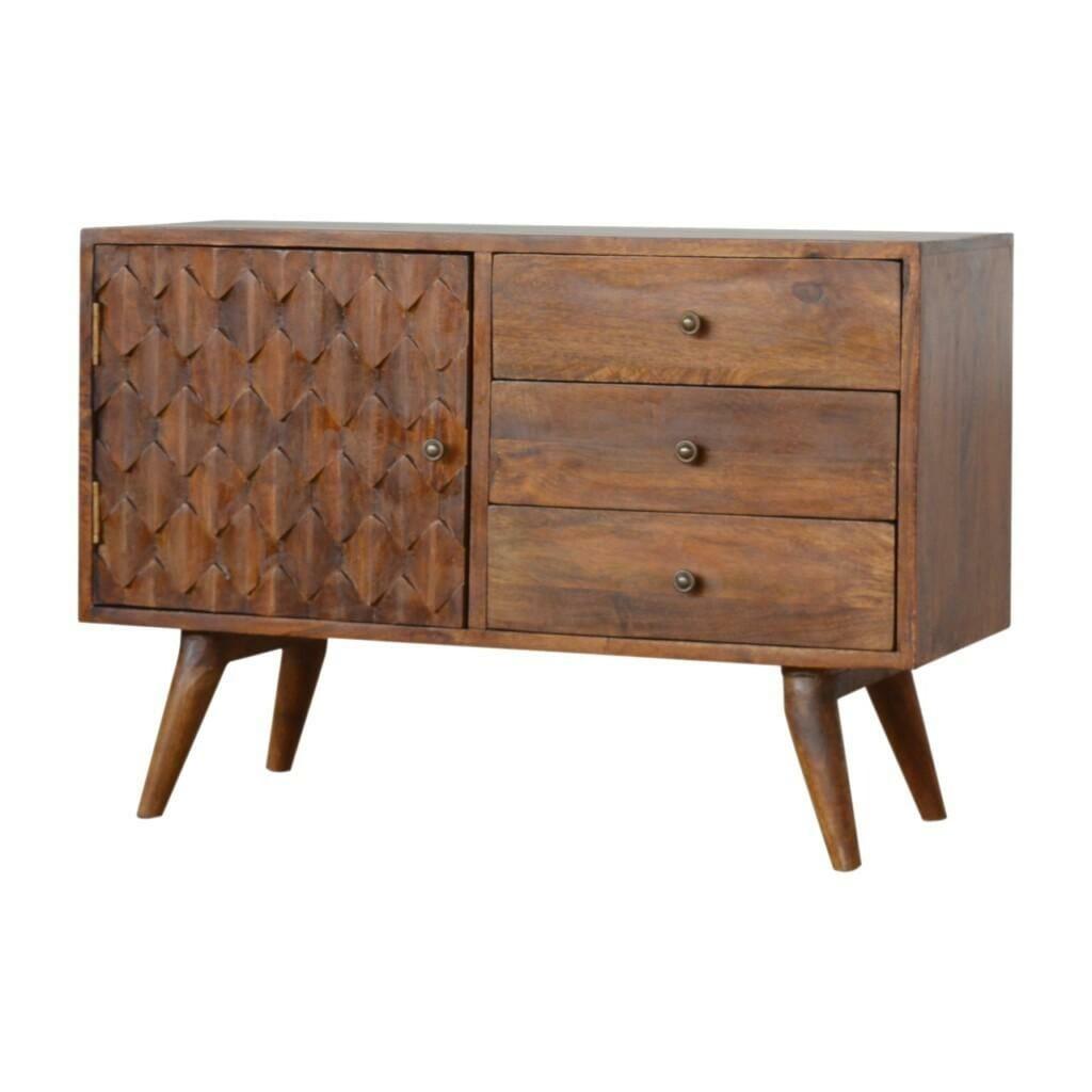 Carved Chestnut Storage Cabinet