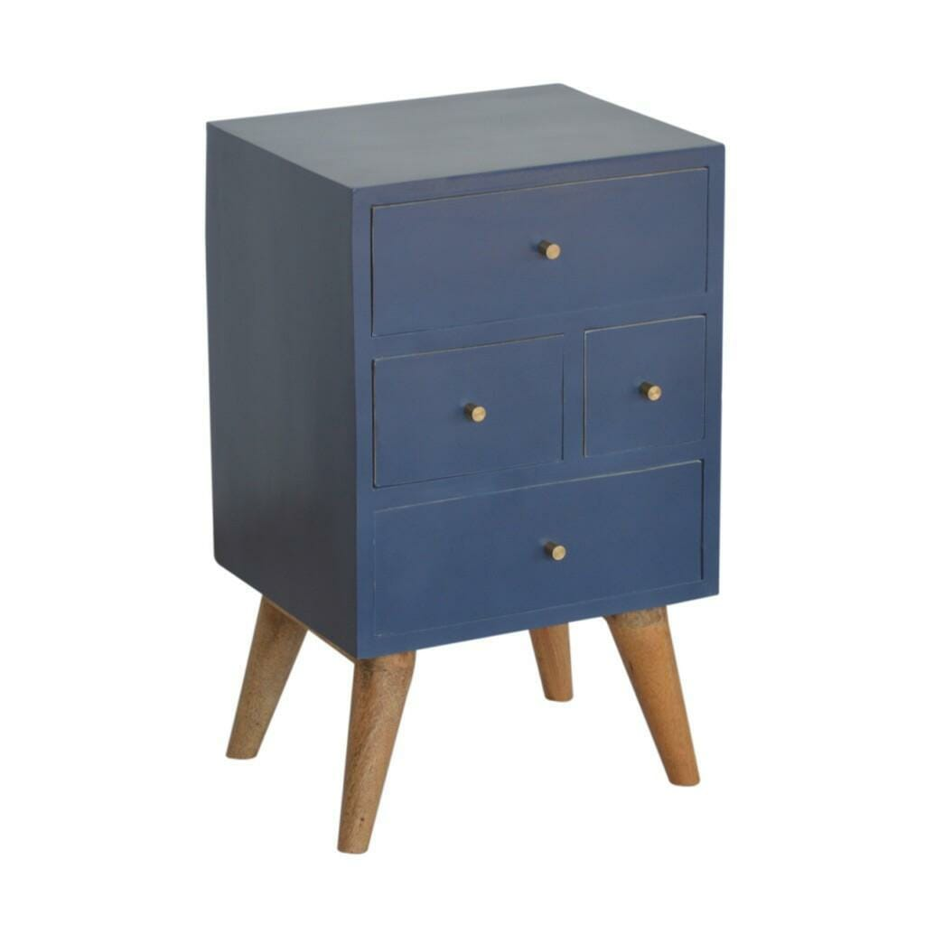 Dark Blue Painted Multi Drawer Bedside