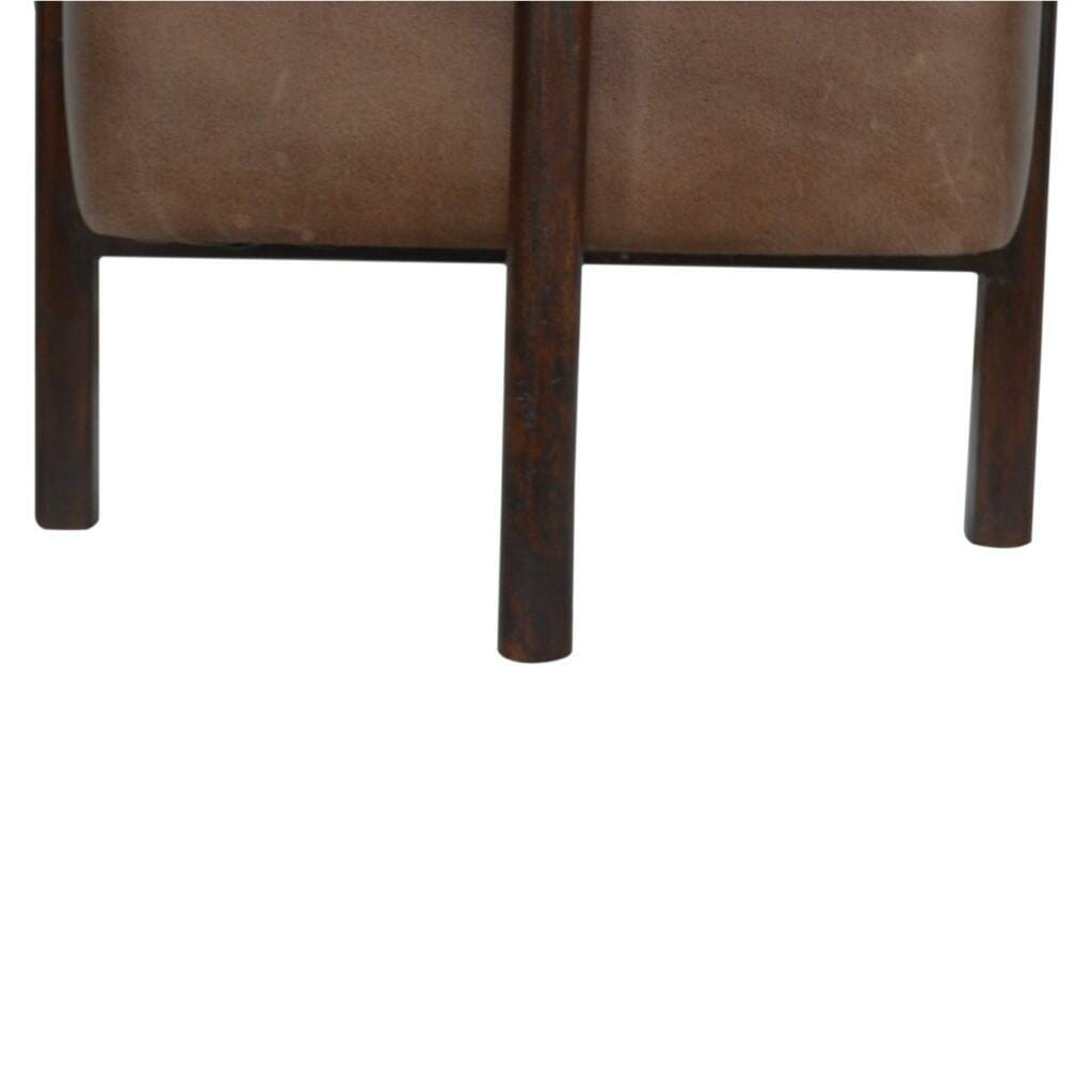 Brown Leather Footstool with Solid Wood Legs