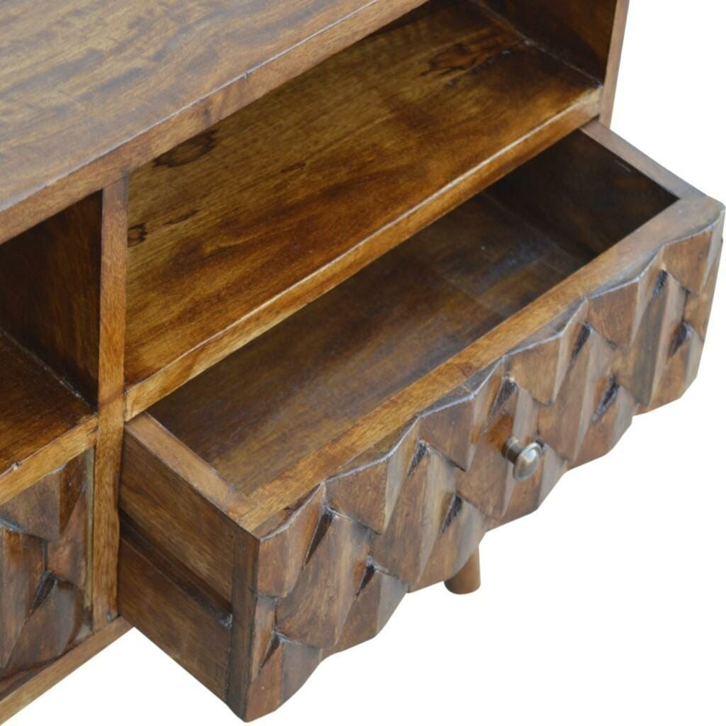 NOT FOUND Chestnut Pineapple Carved Media Unit