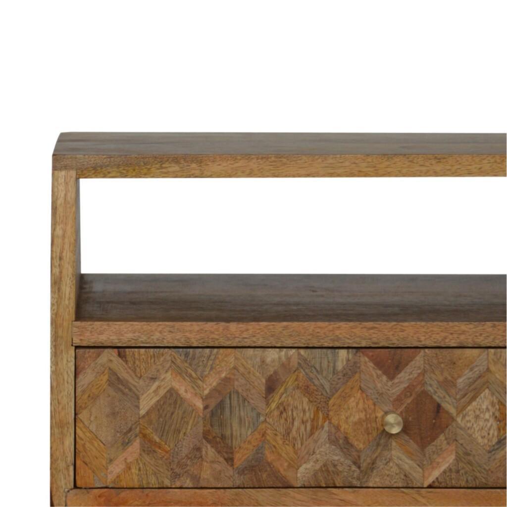 Assorted Oak-ish Bedside with Open Slot Solid Mango Wood
