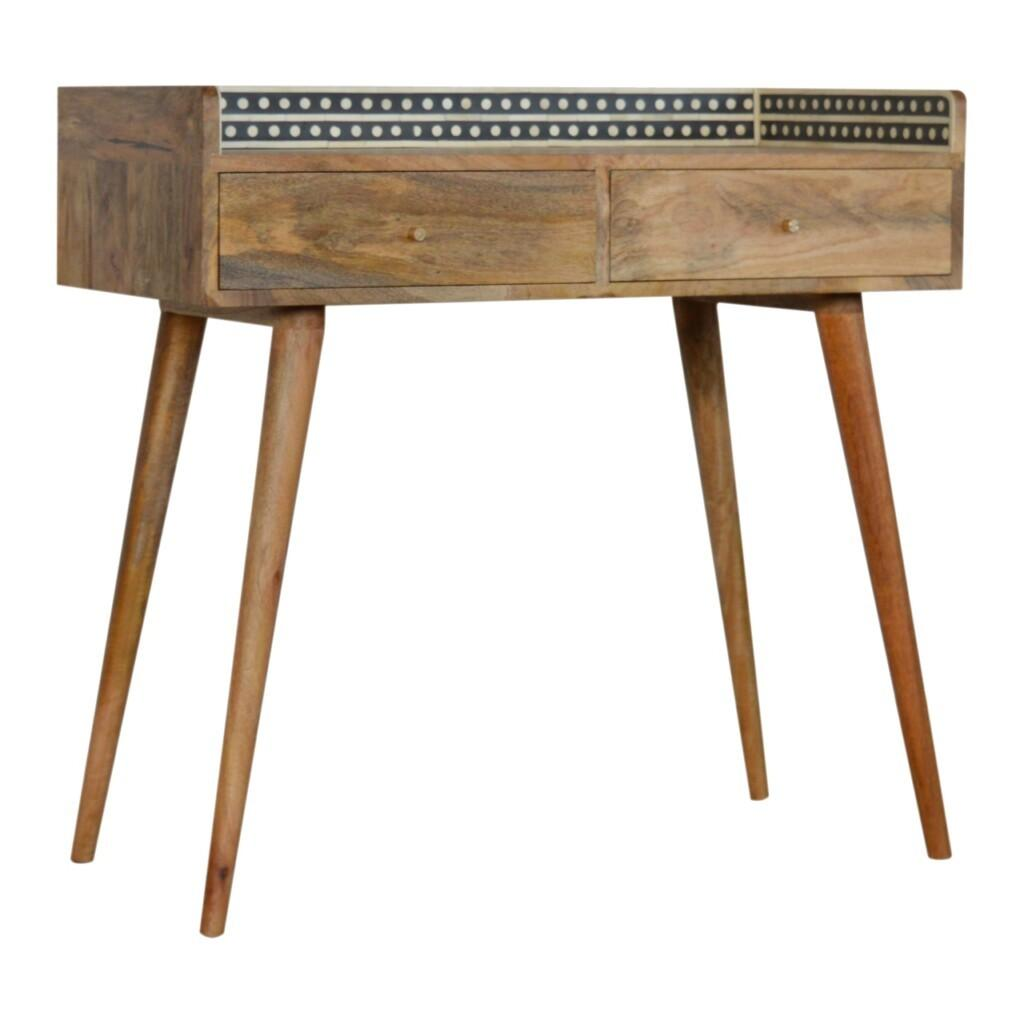 Bone Inlay Gallery Back Console Table