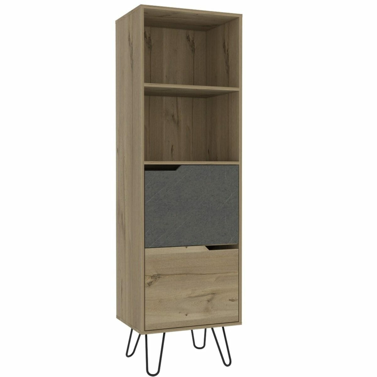 Manhattan Melamine Faced Chipboard Tall Bookcase, With 2 Doors