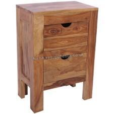Zen Sheesham Wood 2 Drawer Chest & Side Table