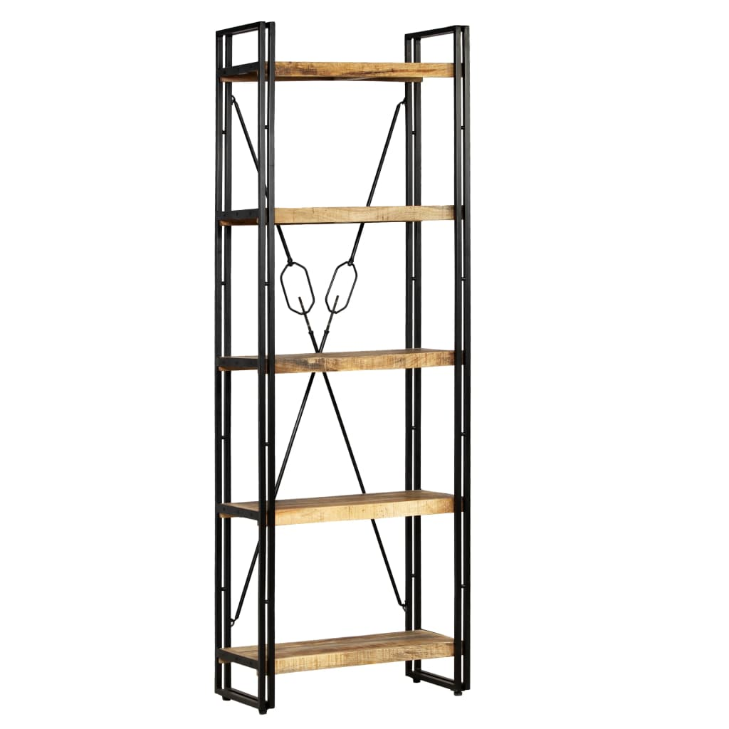 5-Tier Bookcase Solid Mango Wood and Steel 60x30x180 cm