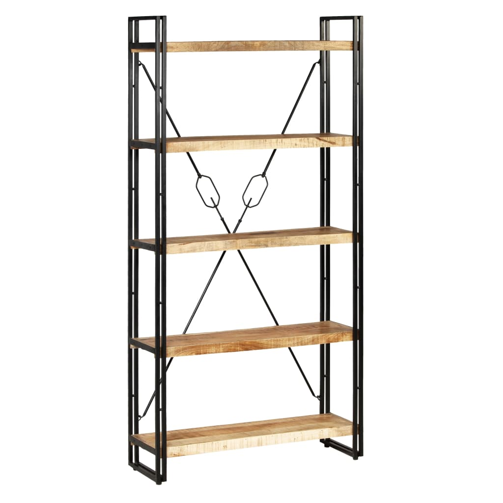 5-Tier Bookcase Solid Mango Wood and Steel 90x30x180 cm