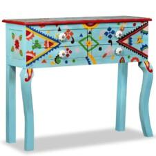 Console Table Solid Mango Wood Blue Hand Painted