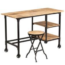 Desk with Folding Stool Solid Mango Wood 115x50x76 cm