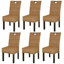 Dining Chair 6 pcs Kubu Rattan Mango Wood