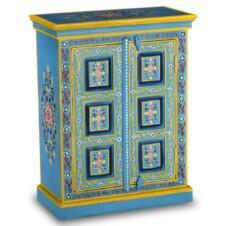 Small Sideboard Solid Mango Wood Turquoise Hand Painted