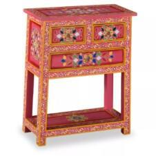 Sideboard with Drawers Solid Mango Wood Pink Hand Painted