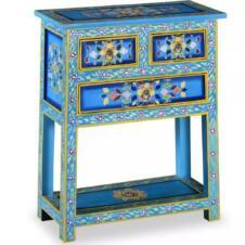 Sideboard with Drawers Solid Mango Wood Turquoise Hand Painted