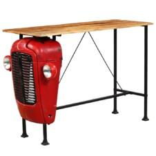 Tractor Bar Table Solid Mango Wood Red 60x150x107 cm