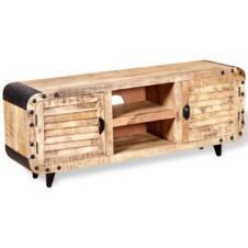 Recycled Industrial TV Unit Rough Mango Wood 120cm