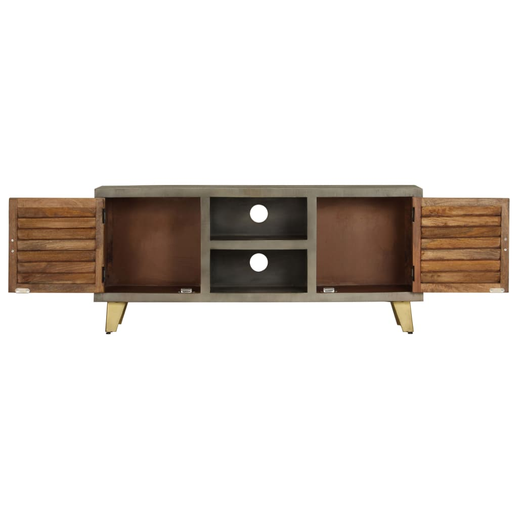 Louvre TV Cabinet Solid Mango Wood Grey with Brass 110x30x48 cm