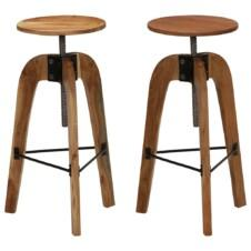 Bar Chairs 2 pcs Solid Acacia Wood 30x(58-78) cm