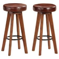 Bar Chairs 2 pcs Solid Acacia Wood Real Leather 45x45x76 cm