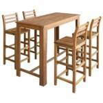 Bar Table and Chair Set 5 Pieces Solid Acacia Wood 1