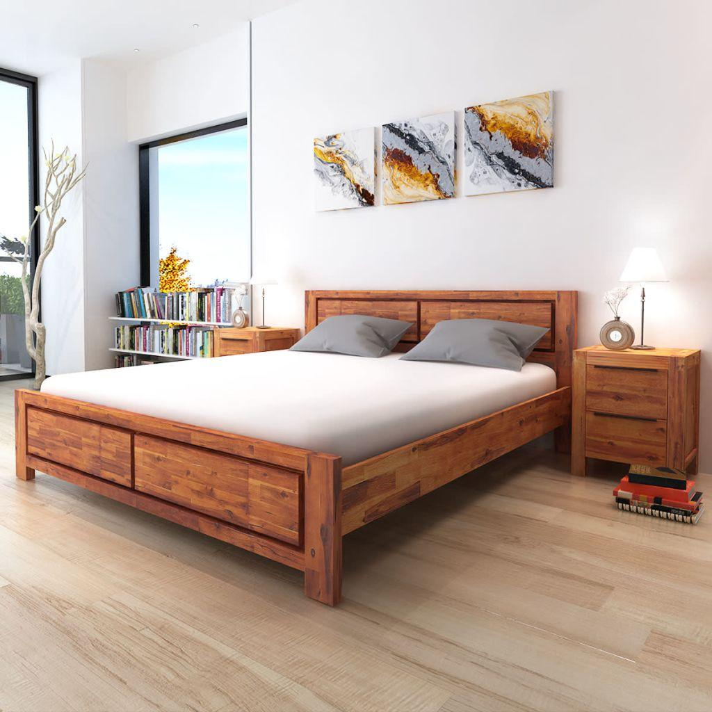 Bed Frame Brown Solid Acacia Wood 180x200 cm