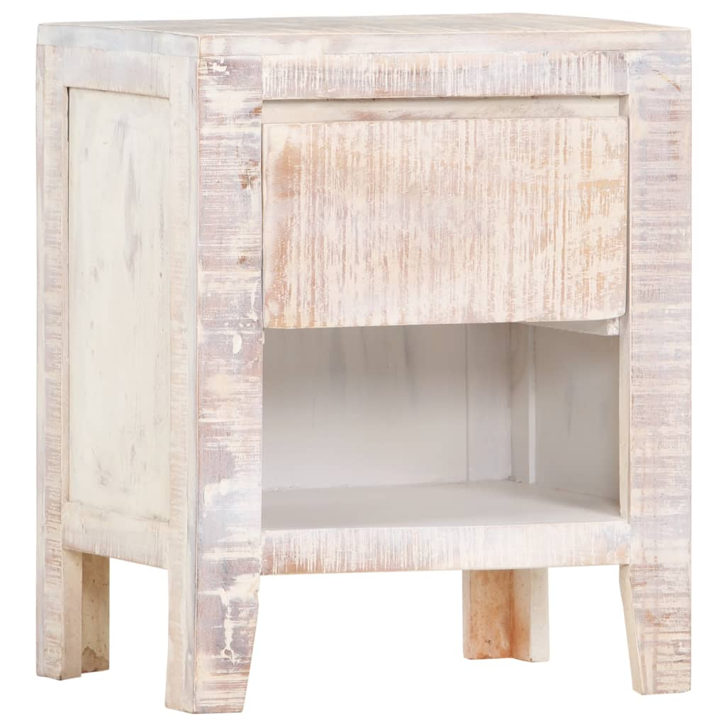 Bedside Cabinet White 40x30x50 cm Solid Acacia Wood