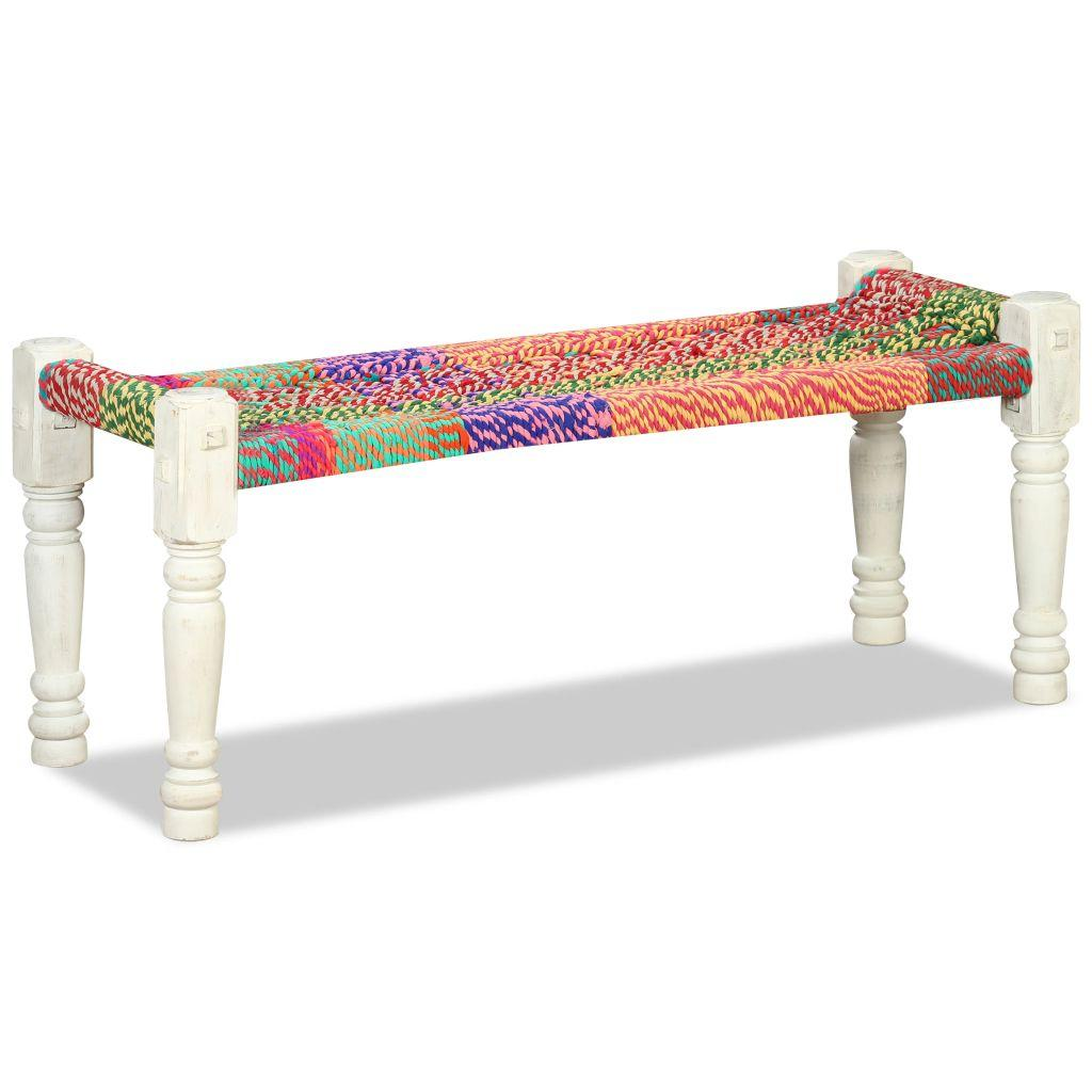 110cm Bench Solid Acacia Wood with Chindi Fabric Multicolour