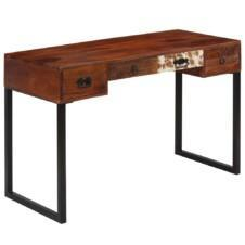Desk Solid Sheesham Wood and Real Leather 117x50x76 cm