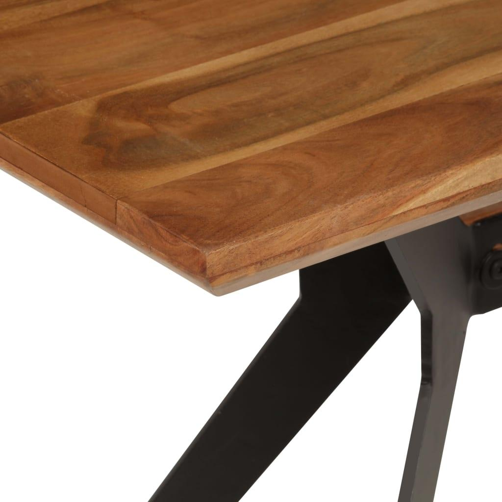 Industrial Design Dining Bench Solid Acacia Wood and Steel 160x40x45 cm