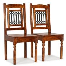 Dining Chairs 2 pcs Solid Wood with Sheesham Finish Classic