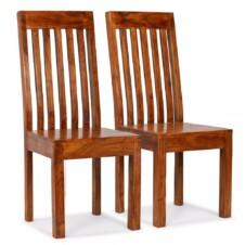 Dining Chairs 2 pcs Solid Wood with Sheesham Finish Modern