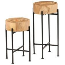 Side Table Set 2 Pieces Solid Acacia Wood