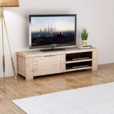 TV Cabinet Solid Brushed Acacia Wood 140x38x40 cm