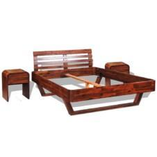 Bed Frame with 2 Nightstands Solid Acacia Wood 140x200 cm