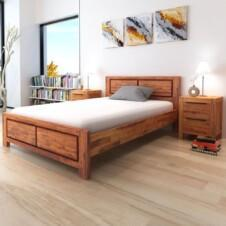Bed Frame with Cabinets Solid Acacia Wood Brown 140x200 cm