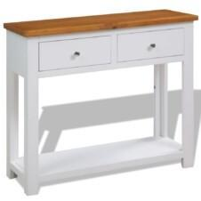 Colonial White Painted 2 Drawer Console Table Solid Oak Wood Top 83x30x73cm