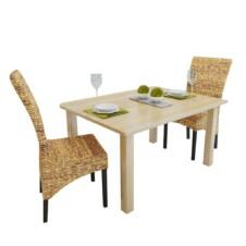 Set of 2 Abaca Brown Rattan Woven Dining Chairs