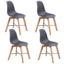 Dining Chairs 4 pcs Acacia Wood Black