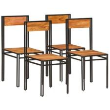 Dining Chairs 4 pcs Solid Acacia Wood with Sheesham Finish