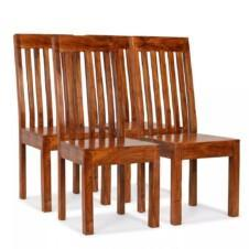 Dining Chairs 4 pcs Solid Wood with Sheesham Finish Modern