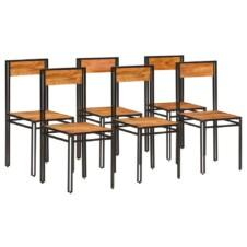 Dining Chairs 6 pcs Solid Acacia Wood with Sheesham Finish