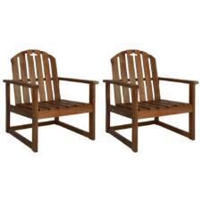 Garden Sofa Chairs 2 pcs Solid Acacia Wood