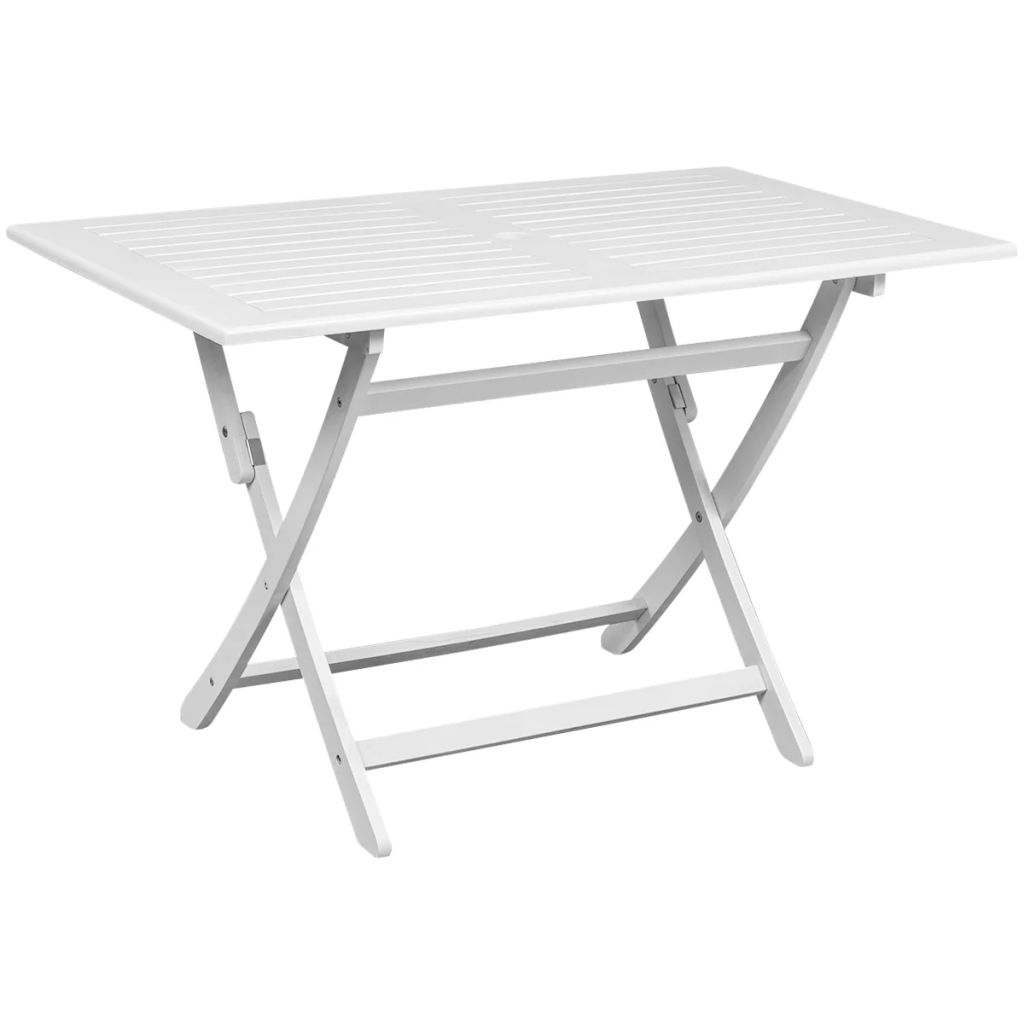 Outdoor Dining Table White Acacia Wood Rectangular