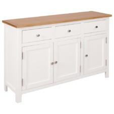 Colonial Painted White Large Sideboard with Oak Top 110x33.5x70cm