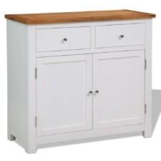 Colonial Painted White Small Sideboard with Oak Top 90x33.5x83cm