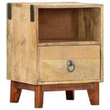 Bedside Cabinet 40x30x52 cm Solid Rough Mango Wood